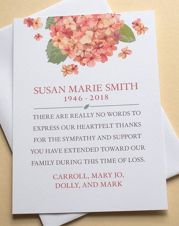Thank You Condolence Cards With One Big Hydrangea Flat Cards With