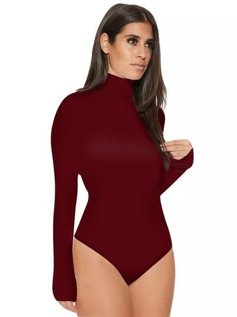 2018 Fashion Long Sleeve High Neck Bodysuits Tops Women Plain Leotard Tops  Turtleneck One Piece Bodysuit Thong Jumpsuits Outfits 1ac73baae