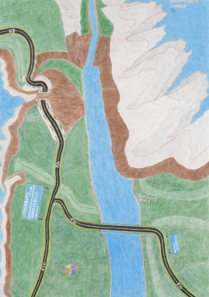 John Phalane (b 1957). EASTERN SOUTH LIMPOPO 2011. Coloured pencil, ballpoint pen on paper, 86 x 61cm.
