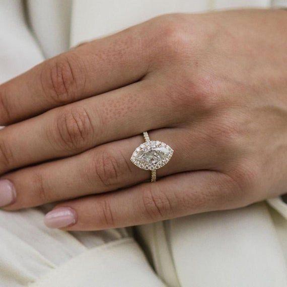 Details about  /2.50Ct Pear Cut VVS1//D Diamond Halo Unique Engagement Ring 14K White Gold Finish