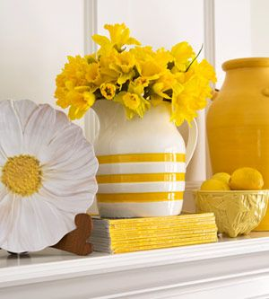 yellow: Color, Decorating Ideas, Mellow Yellow, Mantle, Flower, Sunny Yellow, Room, Yellow Yellow