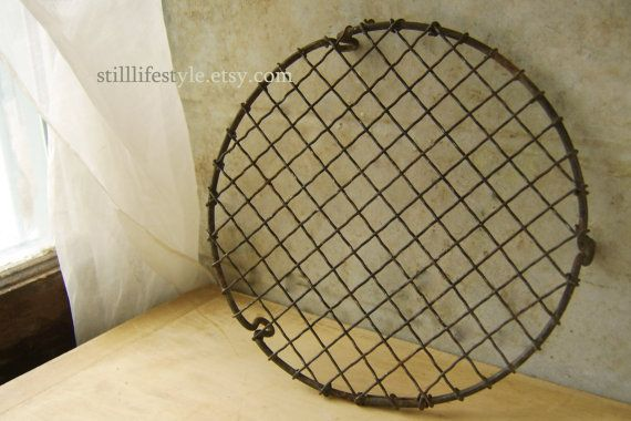 Vintage Crinkle Wire Cooling Rack Cupcake Size Bake Cooling Tray Icing Pastry Display Stand Antique Bakery Item Farmhouse Kitchen Round Rack $85