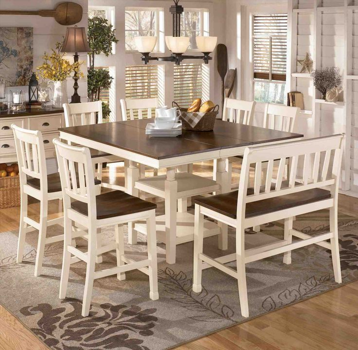 Square dining room table for 8 with leaf