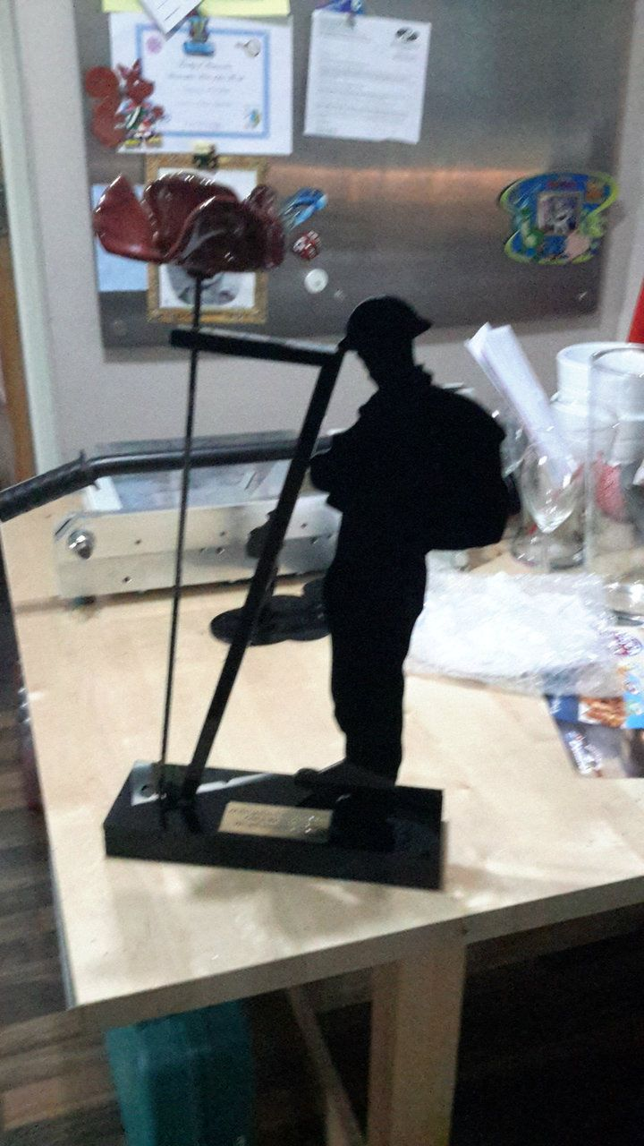 Laser cut Acrylic and Laminate WV Soldier poppy holder - Engraved and Signed