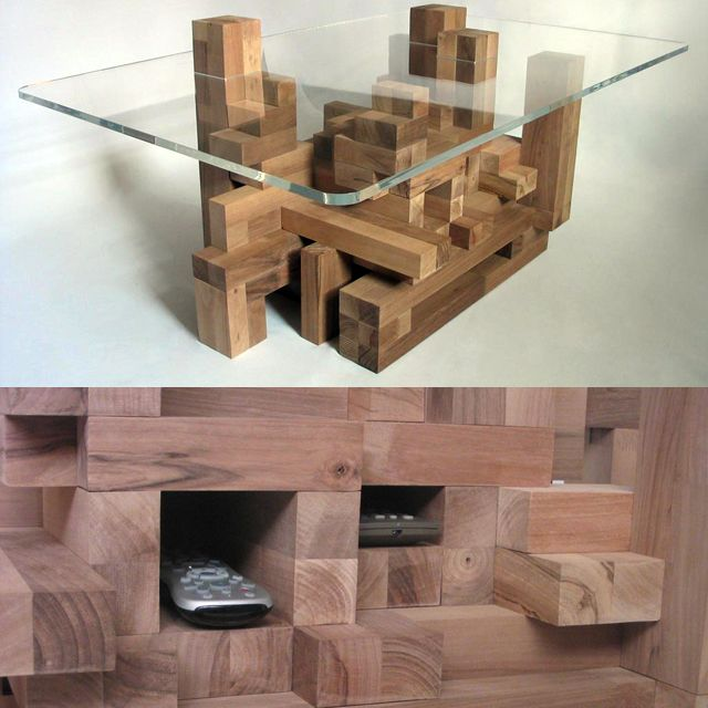 Cityscape Coffee Table Adds Extra Utility with a Wooden Block Base