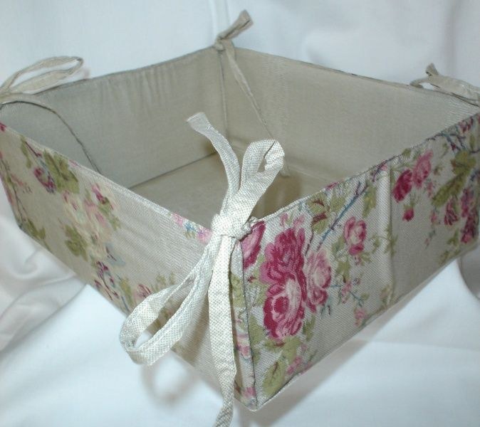linen country floral basket