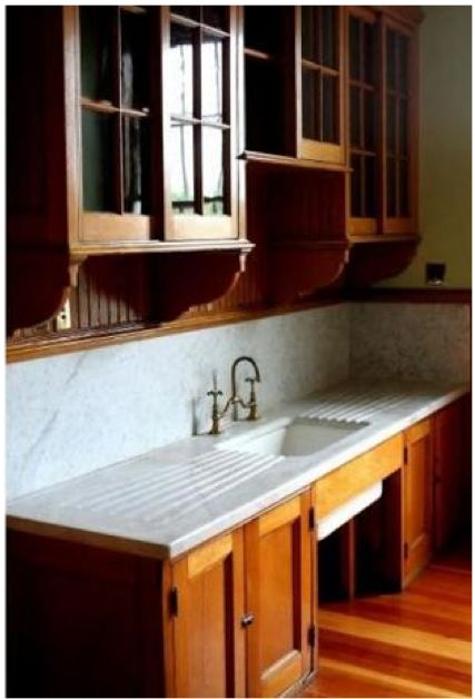 Butler pantry in Edith Wharton house. Cool article on Victorian kitchens. I have the same sink!