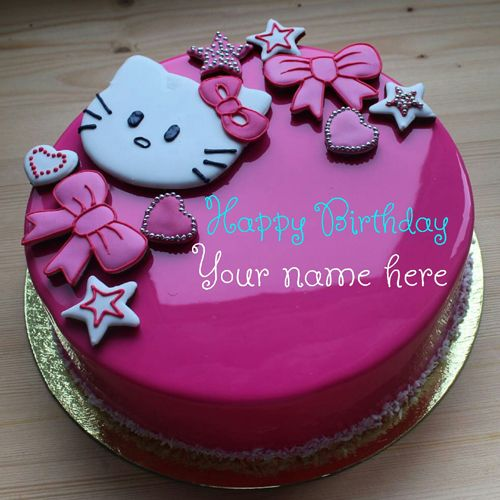 Write Name On Kitty Birthday Cake Hello With Print For Kid Pink Color Girl