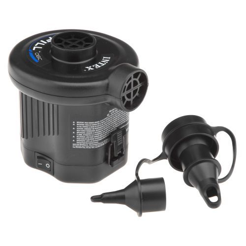 Battery operated air pump for $9.99 at Academy.  INTEX® Quick-Fill™ Battery Air Pump