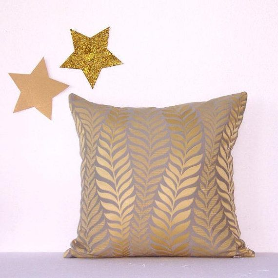 gold grey decorator pillow cover 16 x 16 sofa pillow decorative accent pillow via etsy