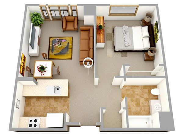 3d one bedroom small house floor plans for single man or House plan 3d view