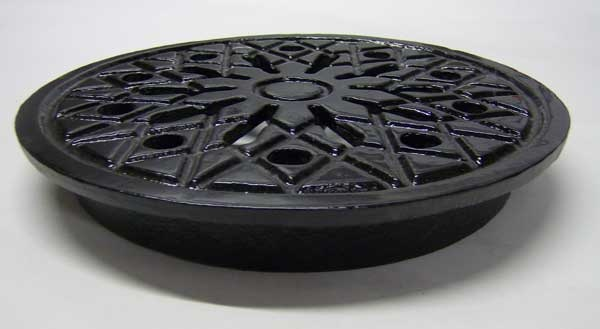 New Coal Hole Covers in cast iron - 12inch round ventilated and solid complete with frame from The Cast Iron Air Brick Company