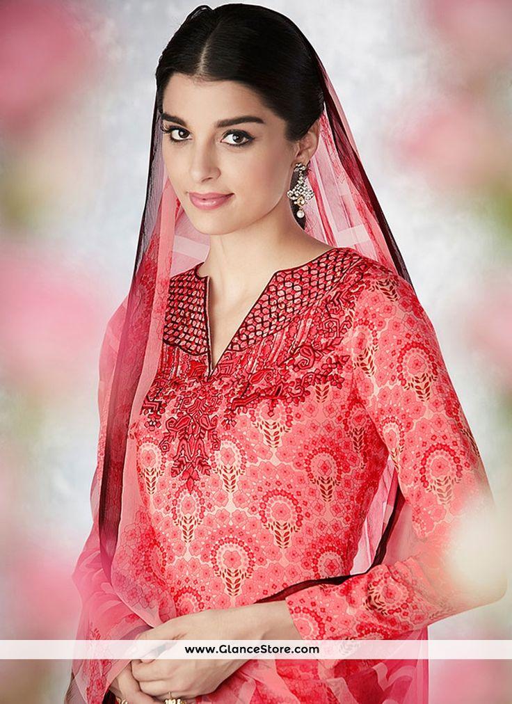 Exuberant Embroidered Work Pink Palazzo Designer Salwar Suit