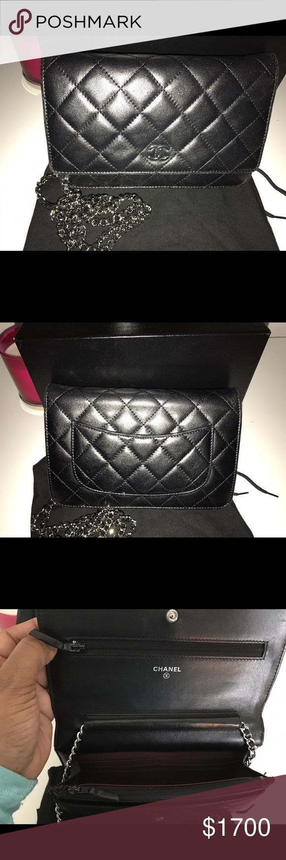 Authentic Chanel Woc Classic Black Lambskin mini with silver hardware wallet on a chain (WOC). This bag has been used frequently but still has a lot of life left. Flaws in pictures. Slight wear to corners wear and trim and to top of the back pocket from rubbing. No stains or smells in good condition. Comes with box and dust bag. Has hologram sticker inside no card. Size 7x 5x 1 lower thru 🅿️🅿️ CHANEL Bags Crossbody Bags