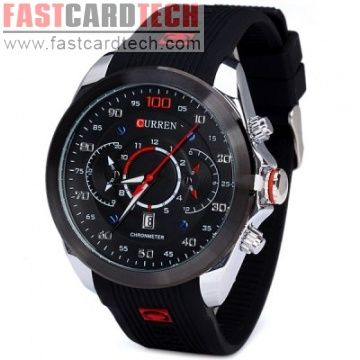 Curren 8166 Men Wristwatch Water Resistant Watch with Date Round Dial Rubber Band