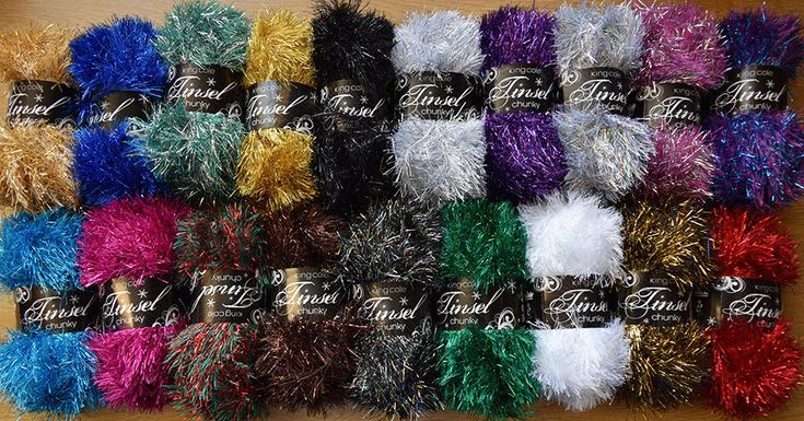 King Cole Tinsel Chunky Sparkle Furry Soft Eyelash Knitting Wool Yarn 50g Ball | eBay - similar to what they strung on Christmas tress in the 1930s