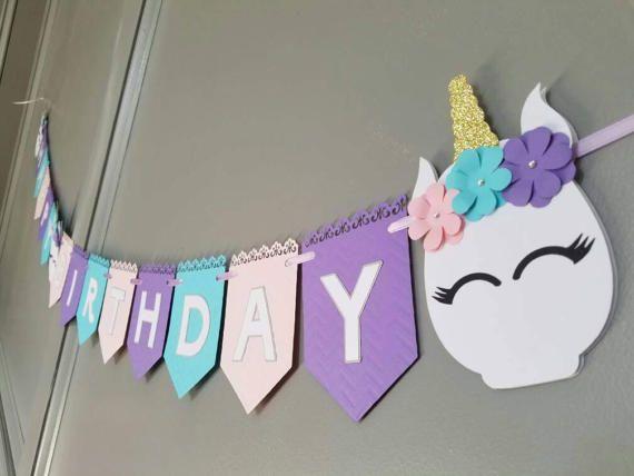 Banner de feliz cumpleaños de unicornio