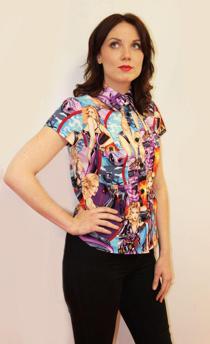 Ladies limited edition version of the famous shirtstorm comet landing pinup shirt. www.ellyprizeman.com