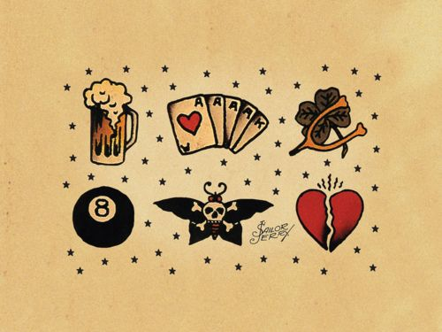 Sailor Jerry tattoo flash - Would love to frame a bunch of these as wall art in the babes room.