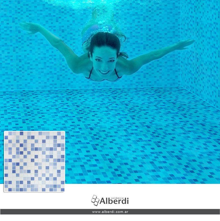 Porcellanato AQUARIUM BLUE es apto para piscinas! En formato 45x45. Nos encanta!!
