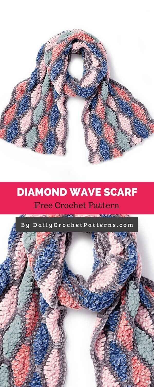 Diamond Wave Scarf Free Crochet Pattern Crochet Patterns