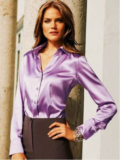Satin Blouses: Purple Satin Blouse