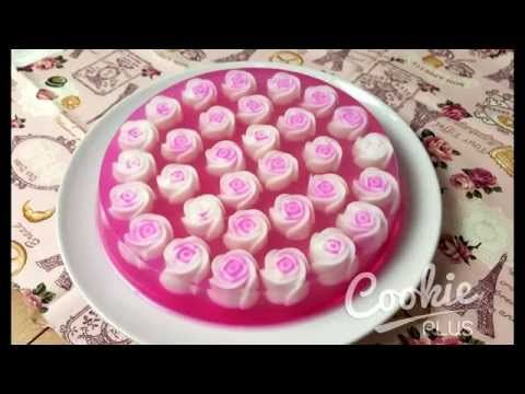 วิธีทำเค้กวุ้นกุหลาบ How to make Rose Jelly Cake By Dj.Fai - YouTube
