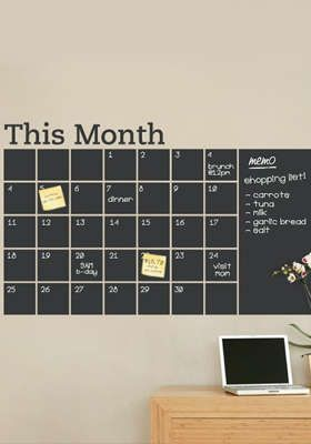 This is a link to a Living Social deal but I really like the idea of blackboard wall calendar. 6-Foot Blackboard Wall Decal: Amazing Wall Decal