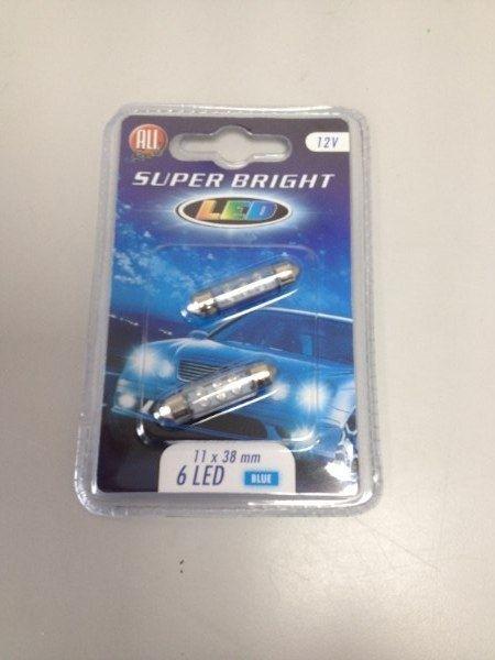 All Ride Superbright 6 LED Festoon 11 X 38mm Pack Of 2 Blue