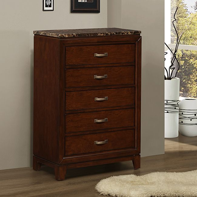 This Beautifully Crafted Faux Marble Top Ches Features A Body Made Of Rich Dark Cherry And Wood Dresser Is Perfect For Any