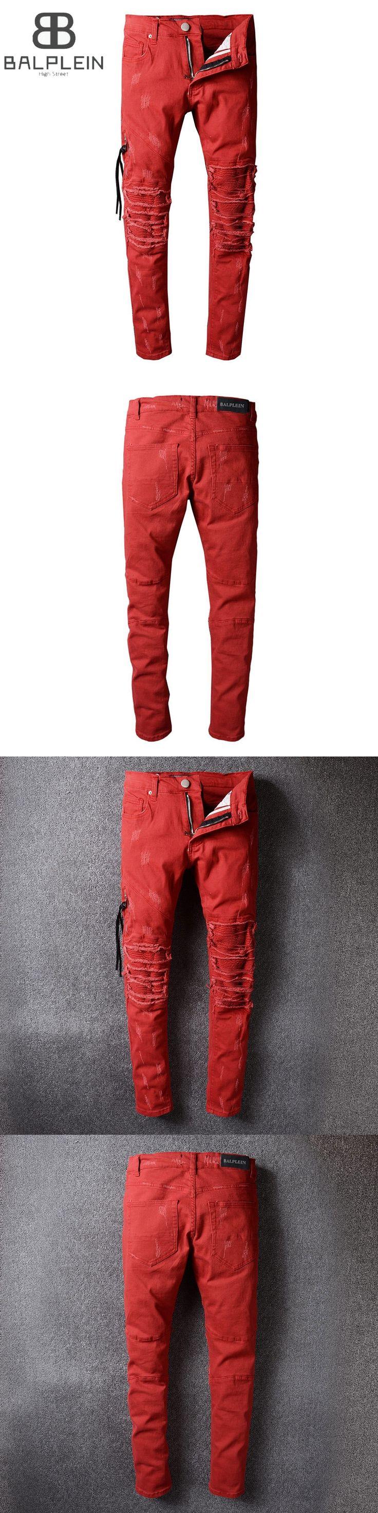 Red Color High Street Fashion Mens Jeans Motor Biker Jeans Men Balplein Brand Destroyed Ripped Jeans Punk Style Denim Pants