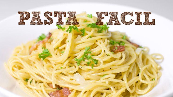 PASTA FACIL SIN HORNO | Espagueti a la carbonara | Como hacer spaguetti ...