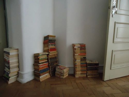 Her apartment was filled with book and paper all over the place. He didn't mind. He actually enjoyed it very much.