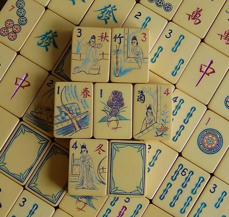 mahjongg hand carved tiles