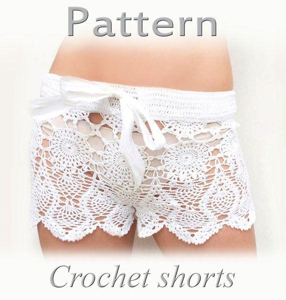 PATTERN Crochet beach shorts in cotton  PDF crochet by katrinshine, $15.00
