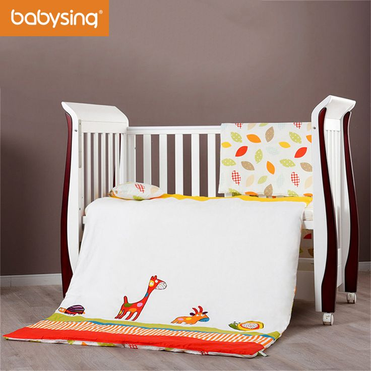 Baby Bedding Set 100% Cotton Nursery Cot Bed Quilt Pillow Mattress with Filling Pillowcase Duvet Cover