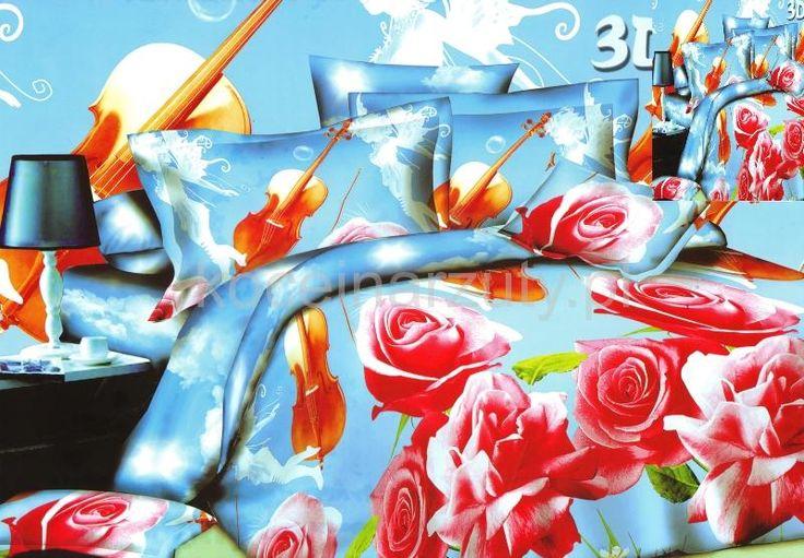 Niebieska pościel z satyny bawełnianej w róże