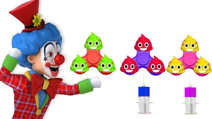 Learn Colors FIDGET SPINNER Evil Clown TOILET POOP Soccer Ball JOHNY JOHNY Yes Papa FINGER FAMILY