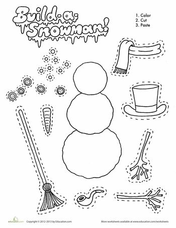 Build a paper snowman! For kids who don't live by the snow...