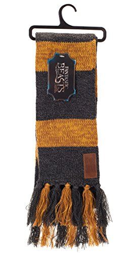 Newt Scamander, the famous Magizoologist author, super soft and silky 100% acrylic scarf. Charcoal gray-and-gold Hufflepuff house colors from the 1920s.