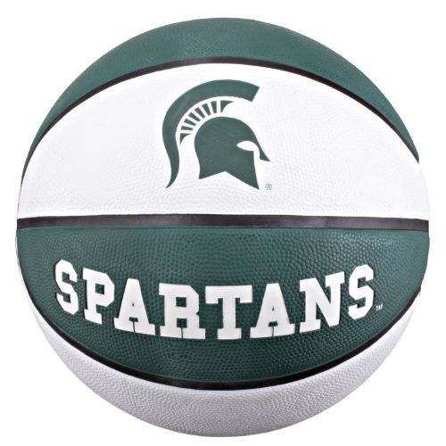 """NCAA Michigan State Spartans Collegiate Deluxe Official Size Rubber Basketball by Baden. $17.99. The Baden BRSKT team color deluxe rubber basketball features embossed logos with the durability for rugged outdoor play. With wide, deep channels, this ball offers maximum grip and even bounce for a better game. Great for all skill levels. Show off your team spirit with Baden's collegiate licensed basketballs! Official Size measuring 29.5""""."""