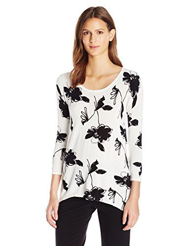 Anne Klein Women's Sharkbite Sweater, Black/White, L This pullover sweater, with it's floral print and black/white colorway, not only provides elegance and warmth, but is easy go-to choice for those sleepy winter mornings.PulloverFloral sweater