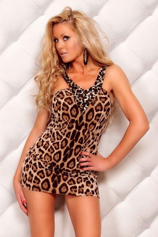 Bruin luipaard V-hals jurkje, versierd met zwarte steentjes