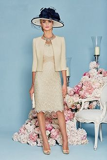 Sheath/Column V-neck Knee-length Lace Mother of the Bride Dress - like the dress (not the hat - not for me)