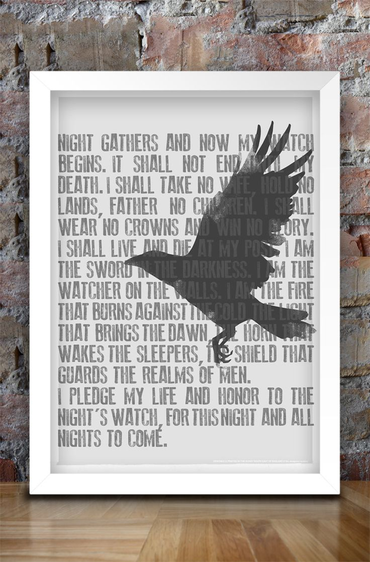 Game of Thrones Inspired Print A3 (Nights Watch Oath). $30.00, via Etsy.
