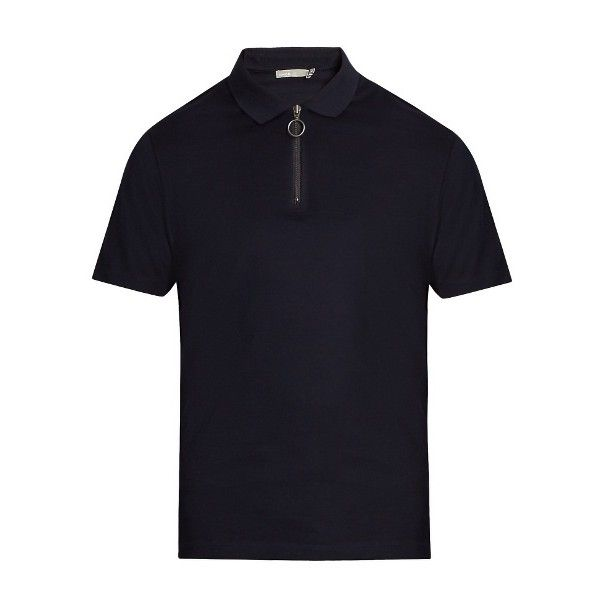 Vince Zip-detail cotton-piqué polo-shirt (€160) ❤ liked on Polyvore featuring men's fashion, men's clothing, men's shirts, men's polos, navy, old navy mens shirts, mens polo shirts, mens zipper shirts, mens navy blue shirt and mens navy blue polo shirt