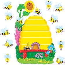Trend Busy Bees Job Chart Bulletin Board Set 36 Bee Beehive Shape