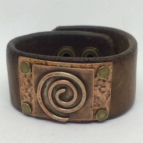 Dark brown Leather Cuff Bracelet for women with copper wire