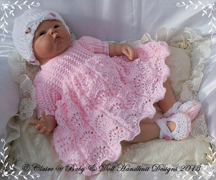 """Lacy Dress & Jacket Set designs 16-22 """"doll-babydoll Handknit, modèle de tricot, poupée, bébé, robe, manteau"""