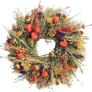 Faux Autumn Wildflower Wreath